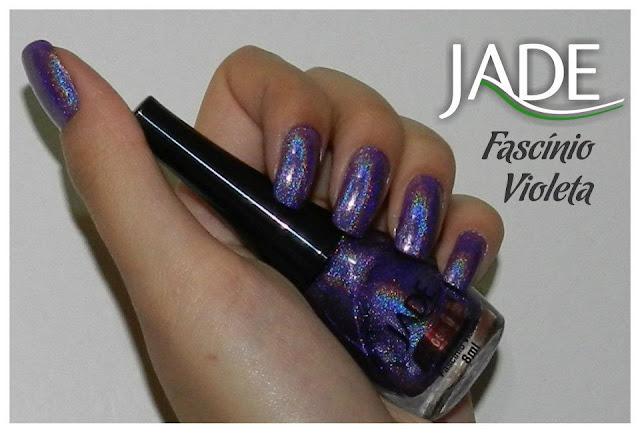 esmalte holográfico jade cosméticos, fascínio violeta, swatch