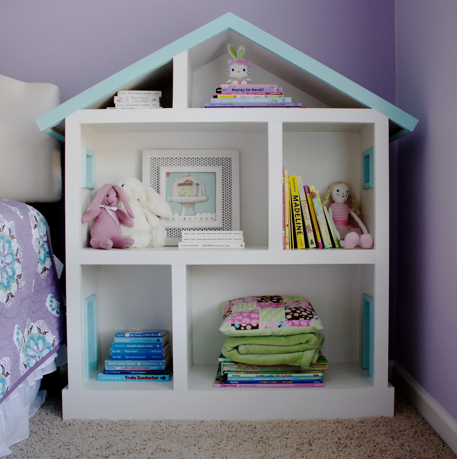 The Yellow Cape Cod Doll House Bookcase