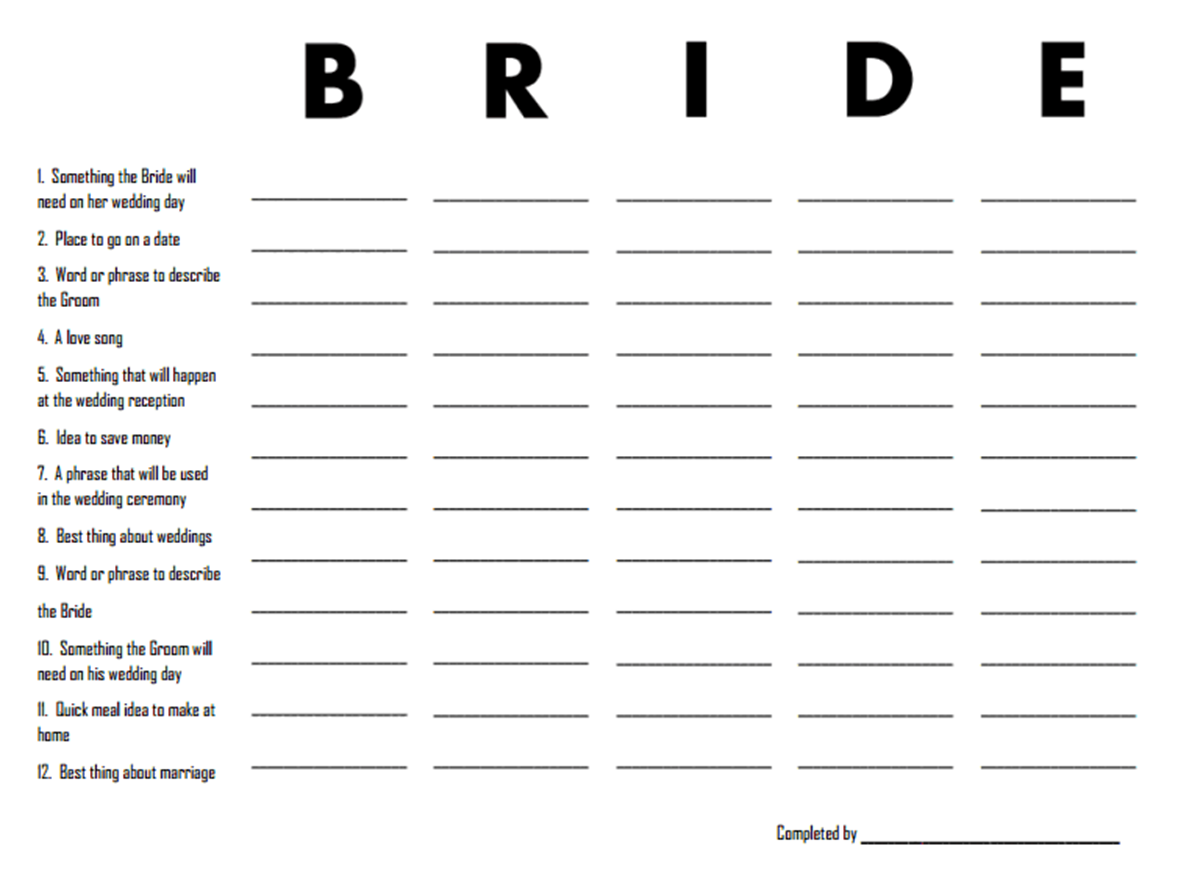 This is a picture of Smart Printable Bridal Shower Game