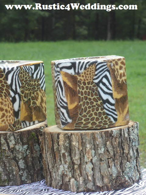 Church house collection blog rustic safari wedding candle stands and holders zebra giraffe - Cheetah print centerpieces ...