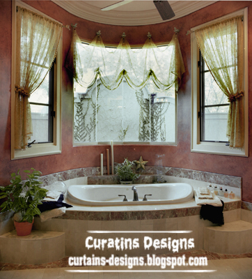 Beige Curtain Design With Shades For Bathroom Suspended On Luxury Hooks