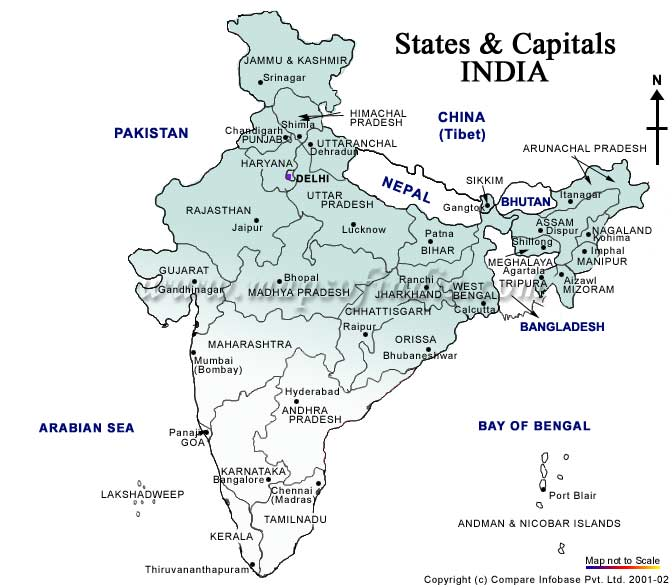 india state and its capital in map