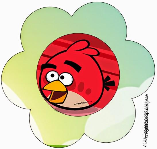 Tarjeta con forma de flor de Angry Birds.