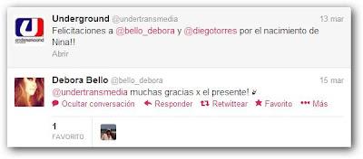 Tweet de Débora Bello sobre Nina  Underground
