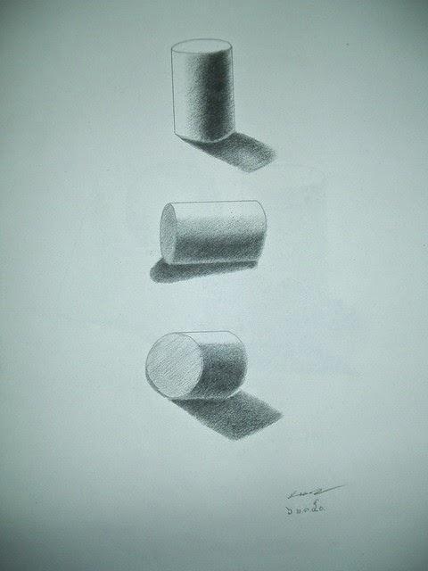 วาดรูปทรงกระบอก 3 อัน ให้แสงส่องคนละด้าน ทั้งนอนและเอียง