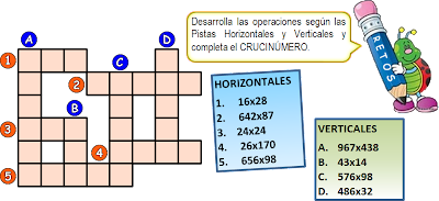 Matematigramas, Crucinúmero, Crucigrama Numérérico, Números Cruzados