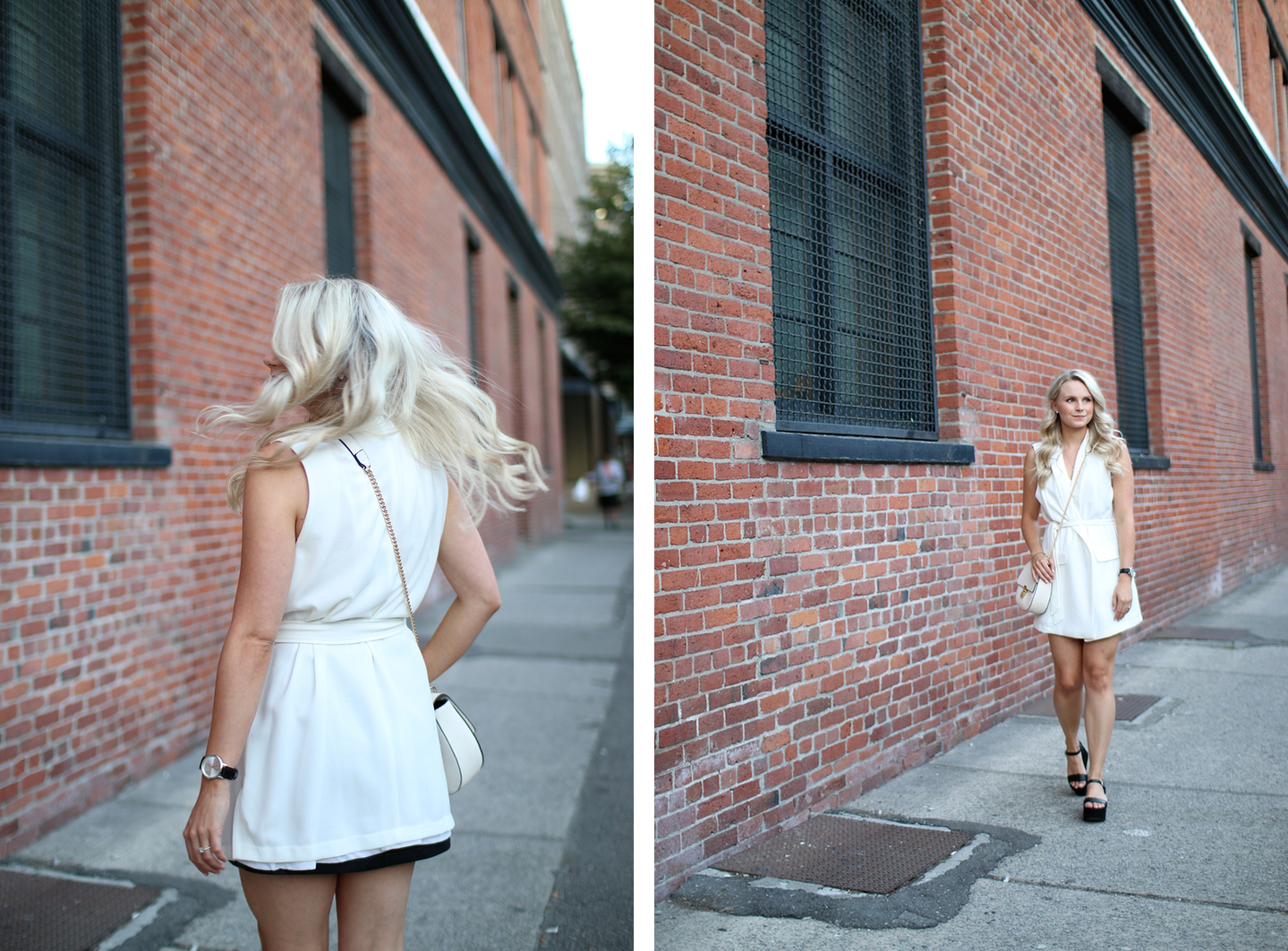 flatform trend outfit at sunset in vancouver gastown