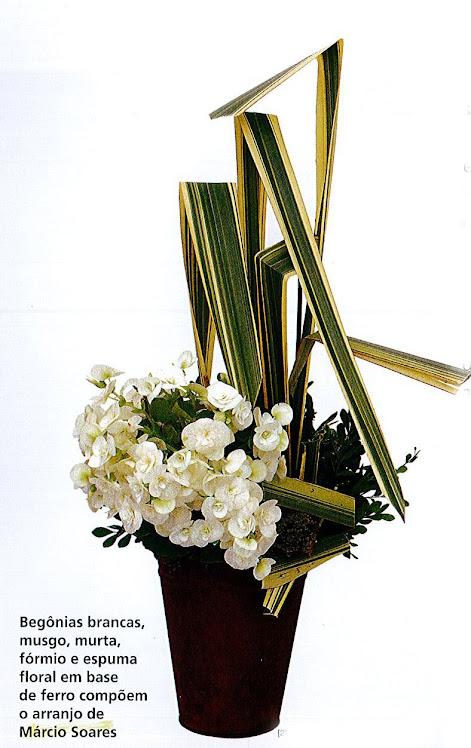 Ikebana para Revista com Flores de Begônia.