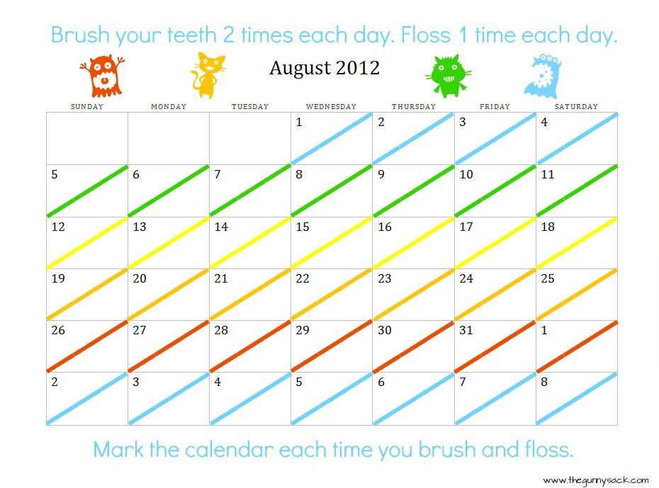 Toothbrush Flossing Chart Free Printable