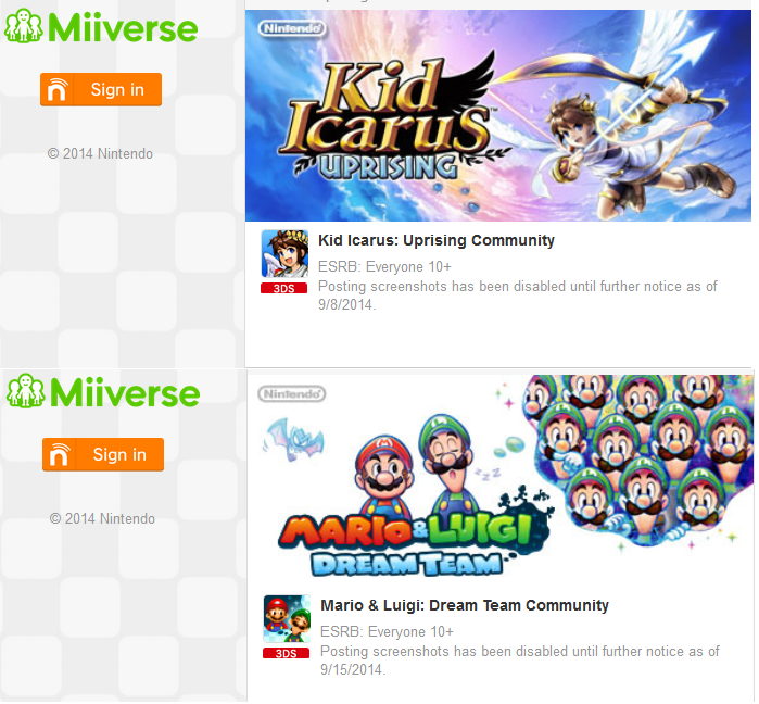 Screenshots are disabled on the Miiverse Kid Icarus: Uprising and Mario & Luigi: Dream Team communities.
