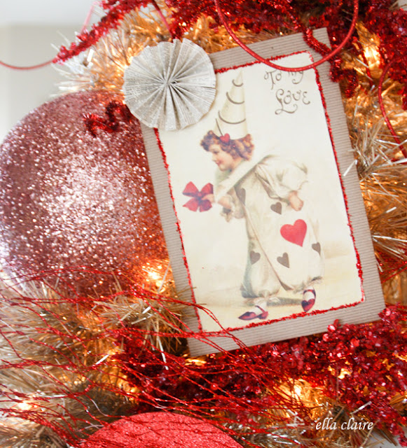 handmade ornaments on a Vintage Valentine Tree with