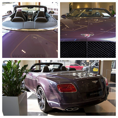 Purple Bentley Continental GTC in HR Owen (Jack Barclay), London