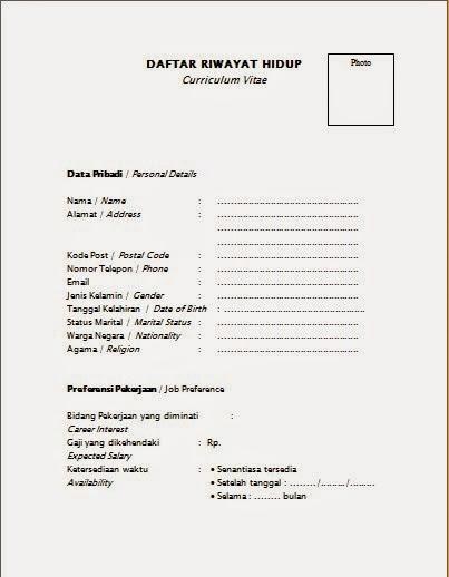 Dokumen Pekerjaan Contoh Daftar Riwayat Hidup