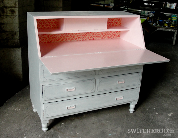 pink secretary desk, grey secretary desk