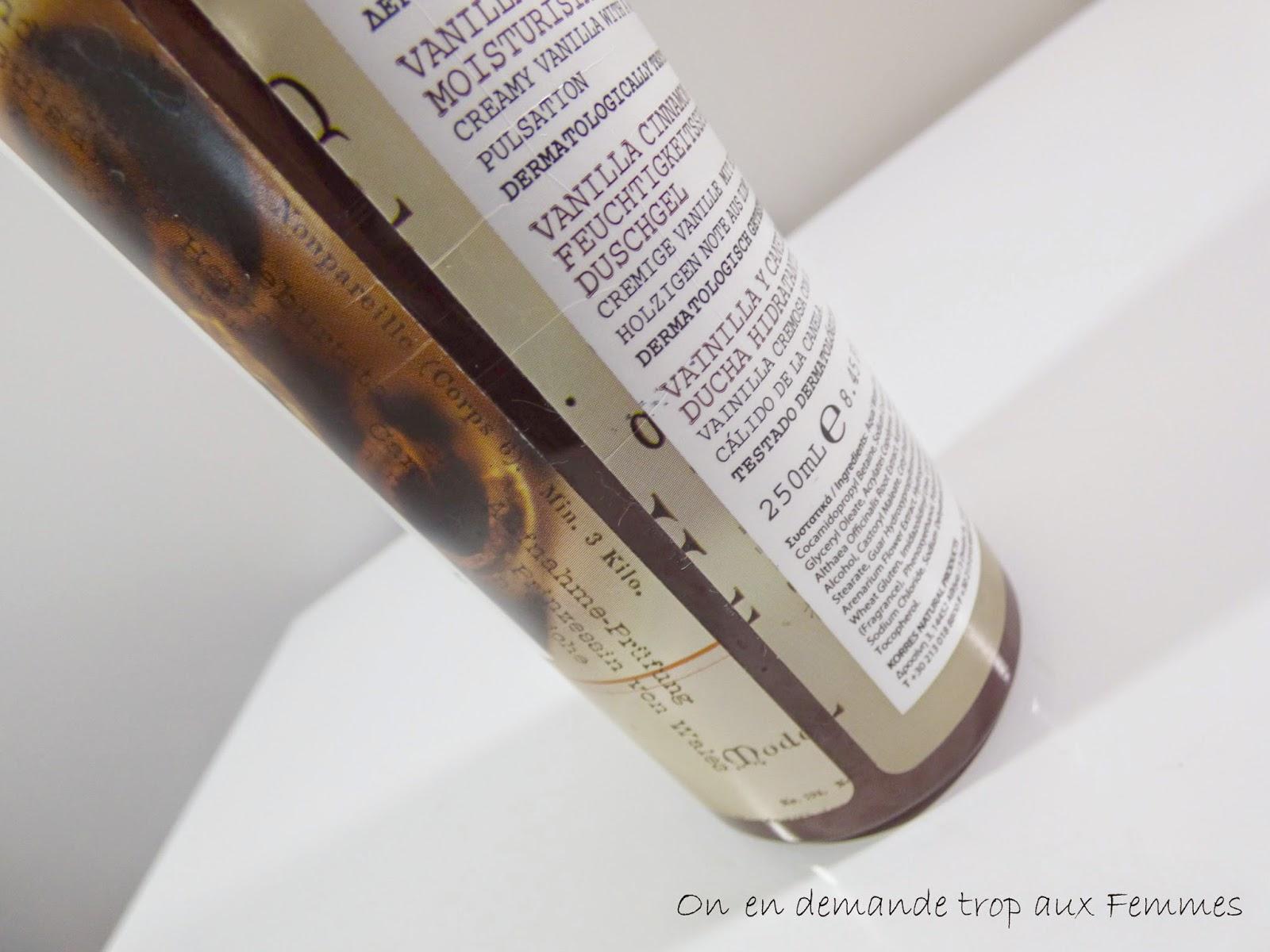 gel douche korres vanille cannelle