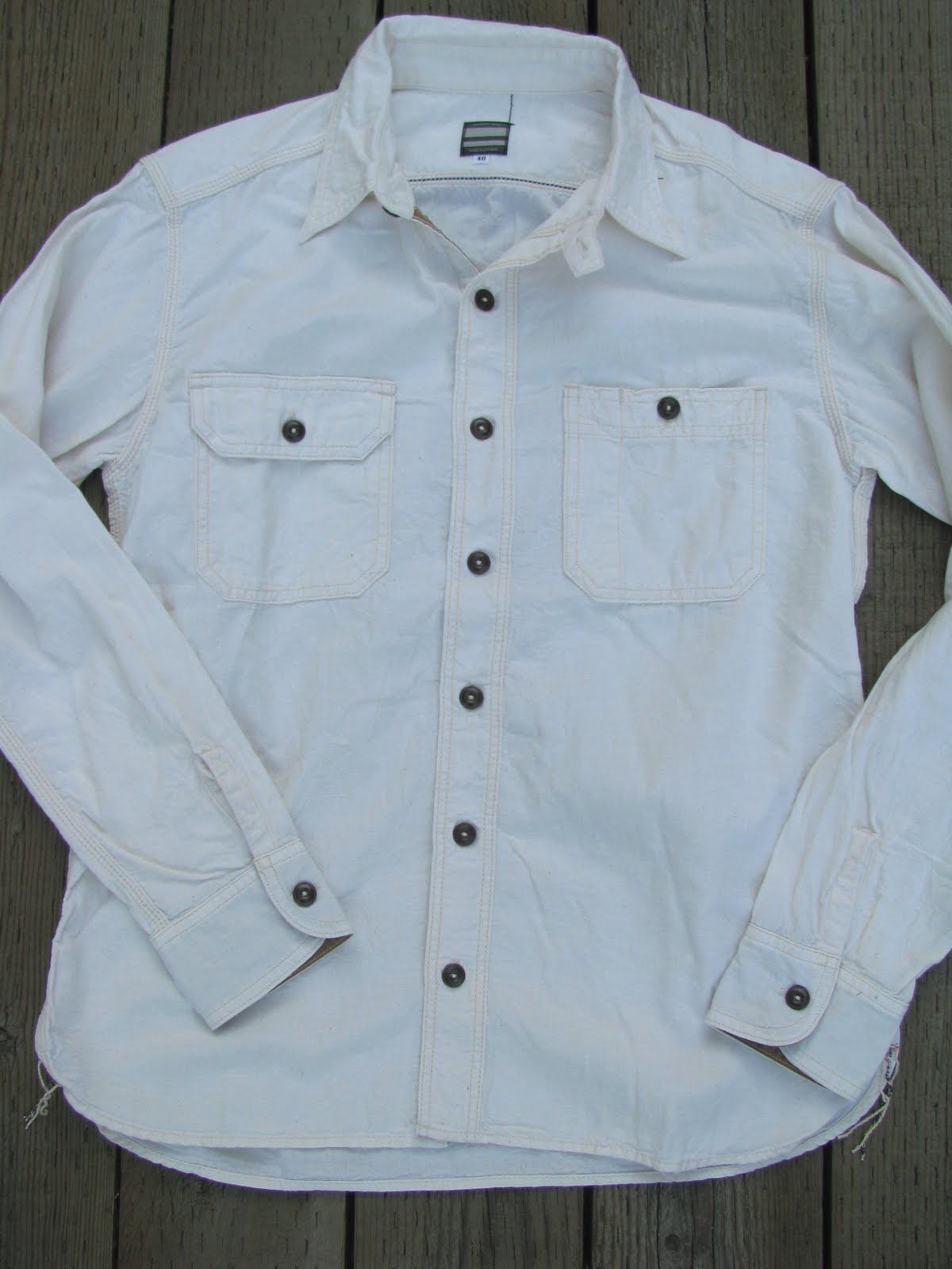 Momotaro 5oz selvedge chambray work shirts blue owl workshop for 100 cotton work shirts
