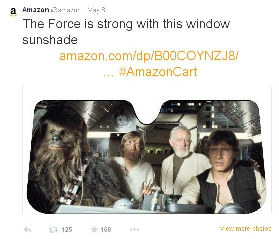 #AmazonCart Star Wars sunshade tweet @Amazon