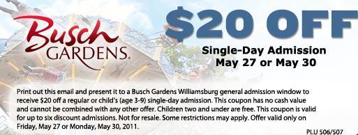 Elegant Busch Gardens Ticket Deals   Close To Home Great Ideas