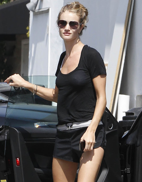 Sexy Rosie Huntington Whitely in Running Shorts Sunglasses
