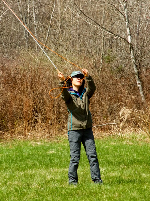 Hyun Kounne casting a Swift Epic fiberglass fly rod.