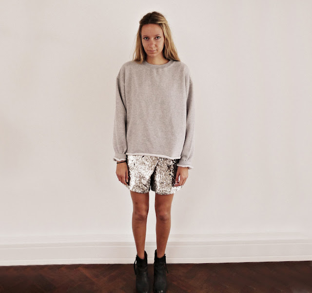 grey top, sequin skirt