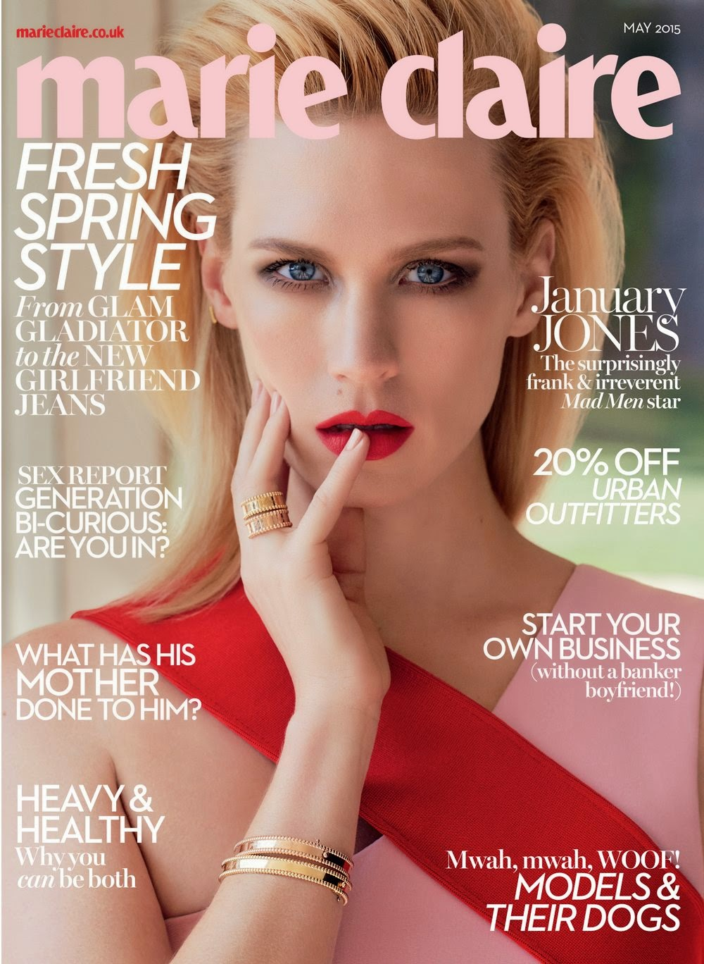 Actress @ January Jones for Marie Claire UK, May 2015