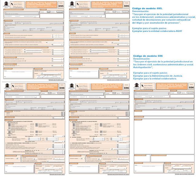 Modelo 696 autoliquidación Tasas judiciales y 695 solicitud de devolución por solución extrajudicial del litigio