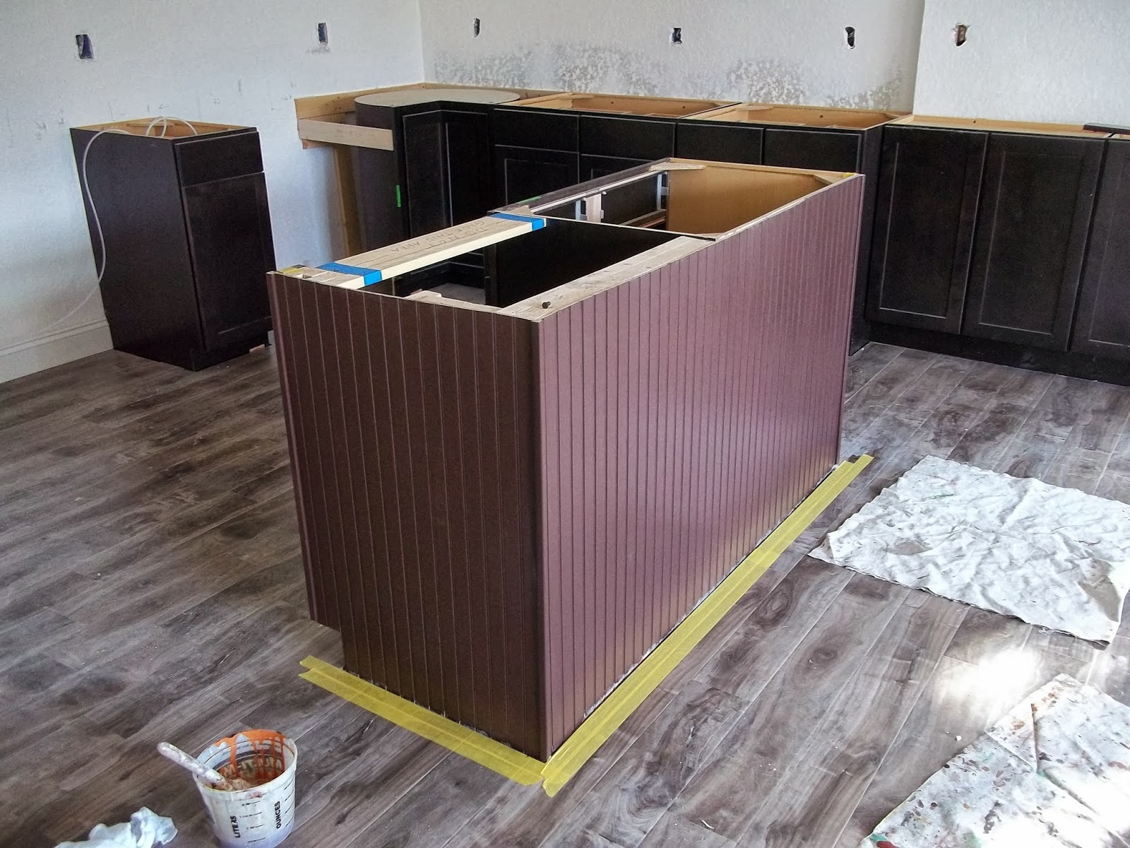 Faux wood grain island in kitchen everything i create for Faux painting garage doors look like wood