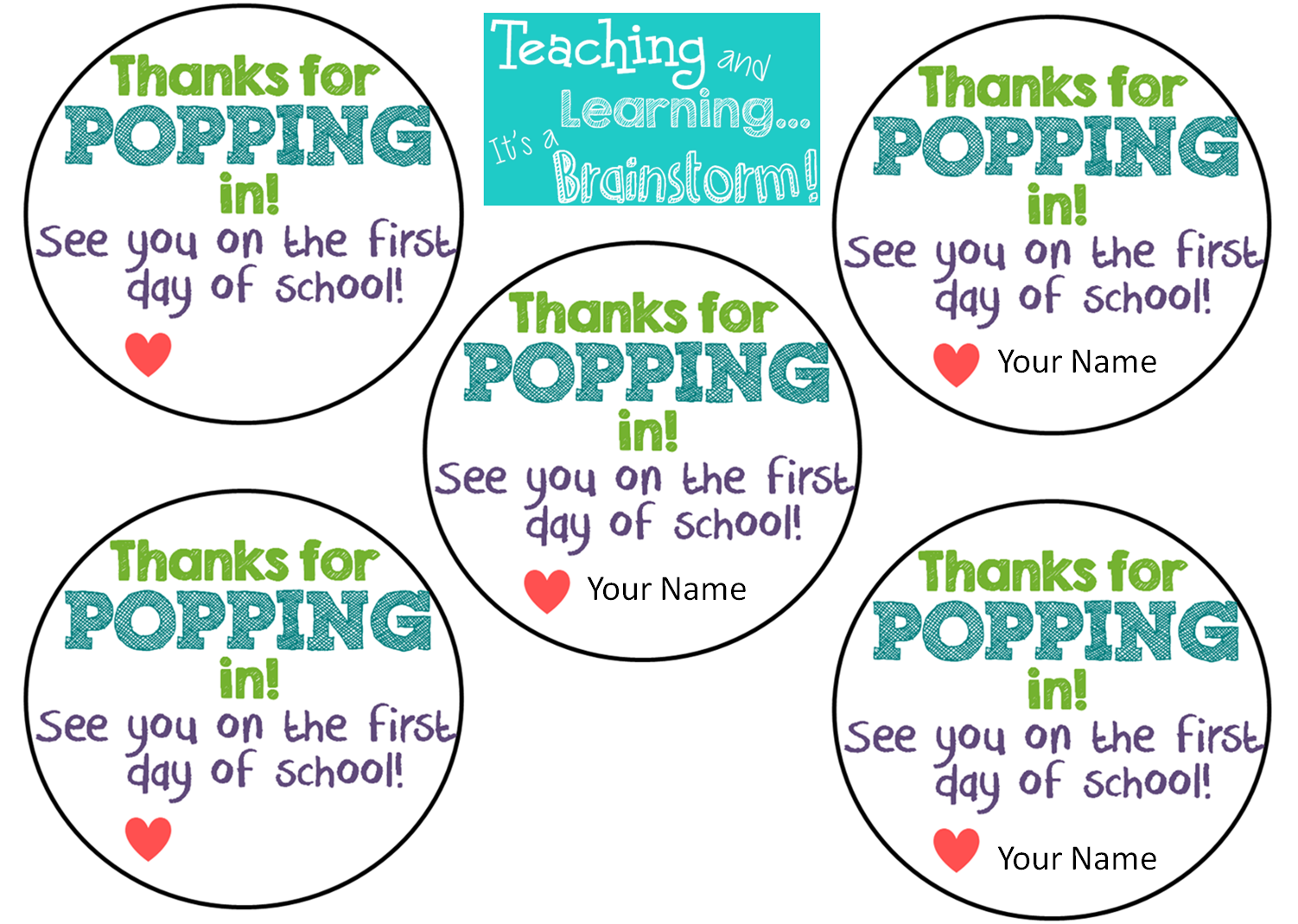 image relating to Thanks for Popping by Free Printable known as Clroom Brainstorm!: Again in the direction of College or university Open up Space Address FREEBIE!
