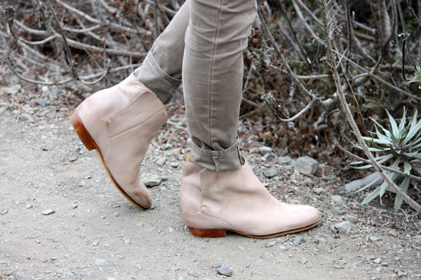 Tan everyday booties & cuffed skinny pants