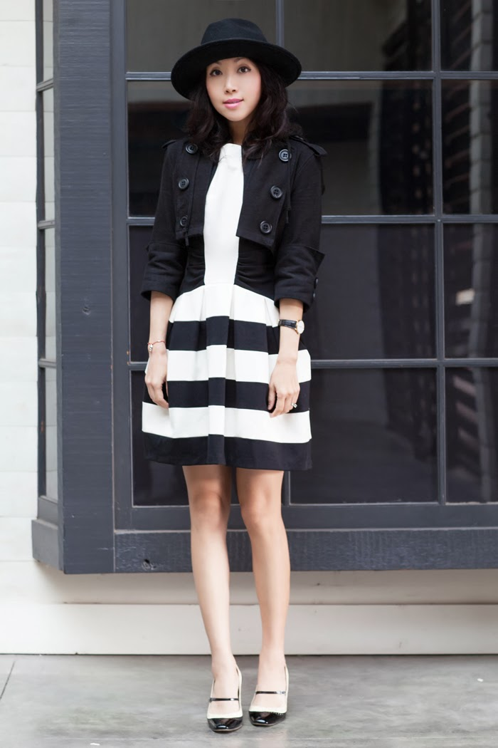 Anthropologie dress black and white
