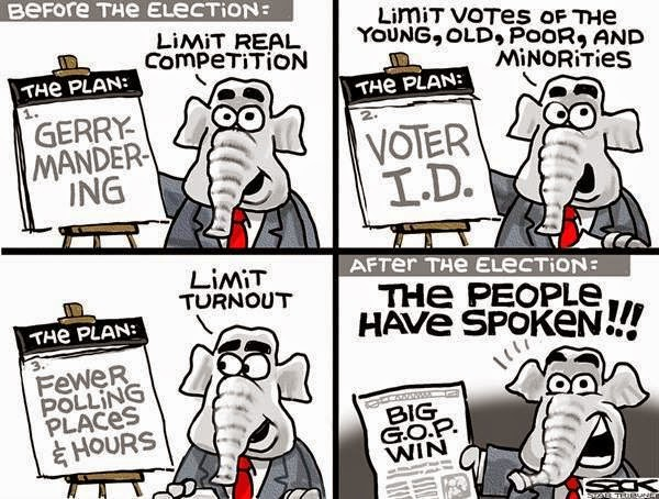 The Republican Plan:  Gerrymandering, Voter ID, Limiting Polling Places and Hours.  After the election, Republican shouts,