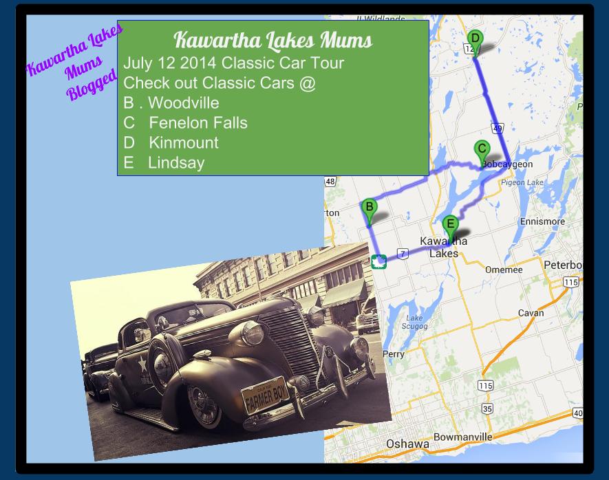 Kawartha Lakes Mums Vintage Vehicle Tour Map July 12, 2012 Lindsay, Woodville, Fenelon Falls, Kinmount