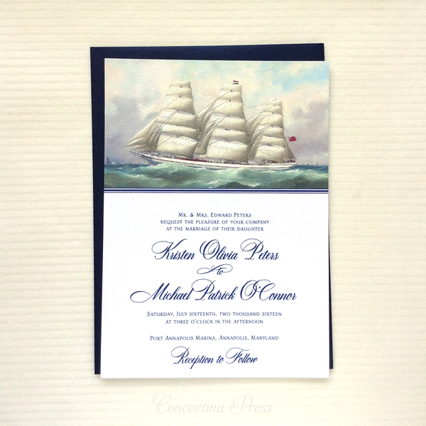 merchant ship wedding invitations for a wedding on a boat