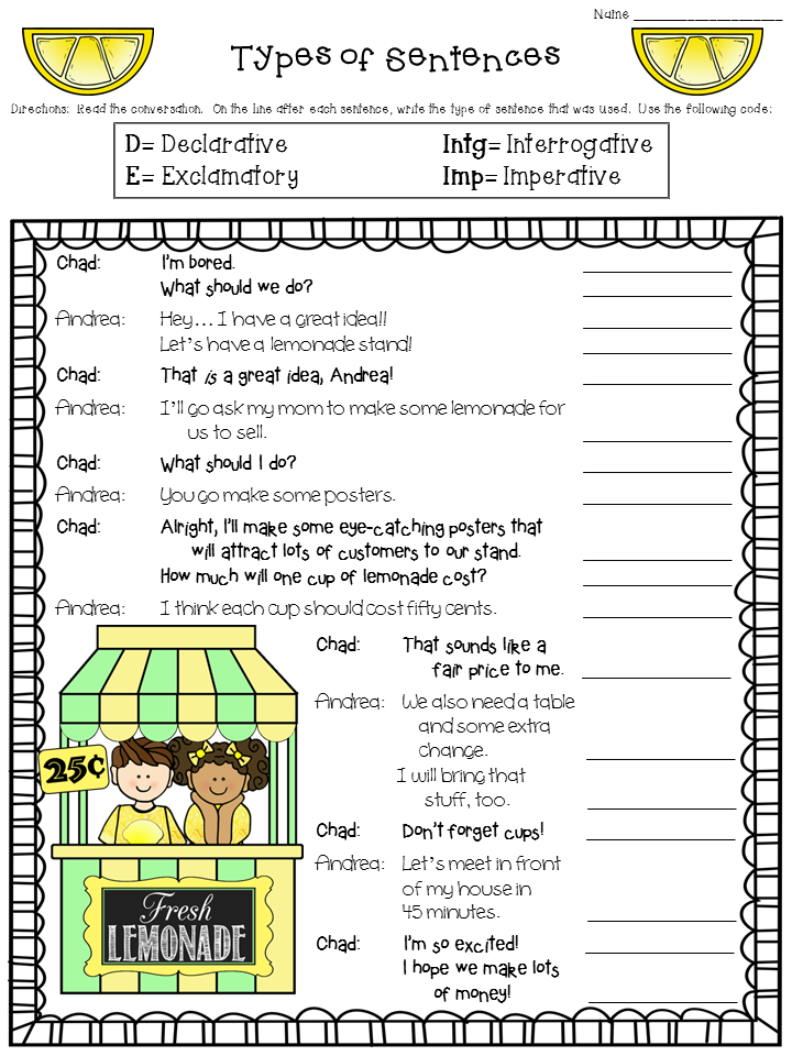 Crafting Connections Worksheet Wednesday Types of Sentences – 4 Types of Sentences Worksheet