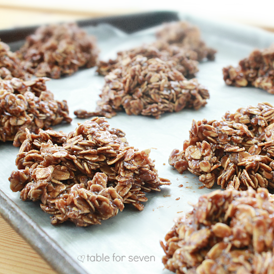No Bake Peanut Butter Chocolate Oatmeal Cookies • Table for Seven