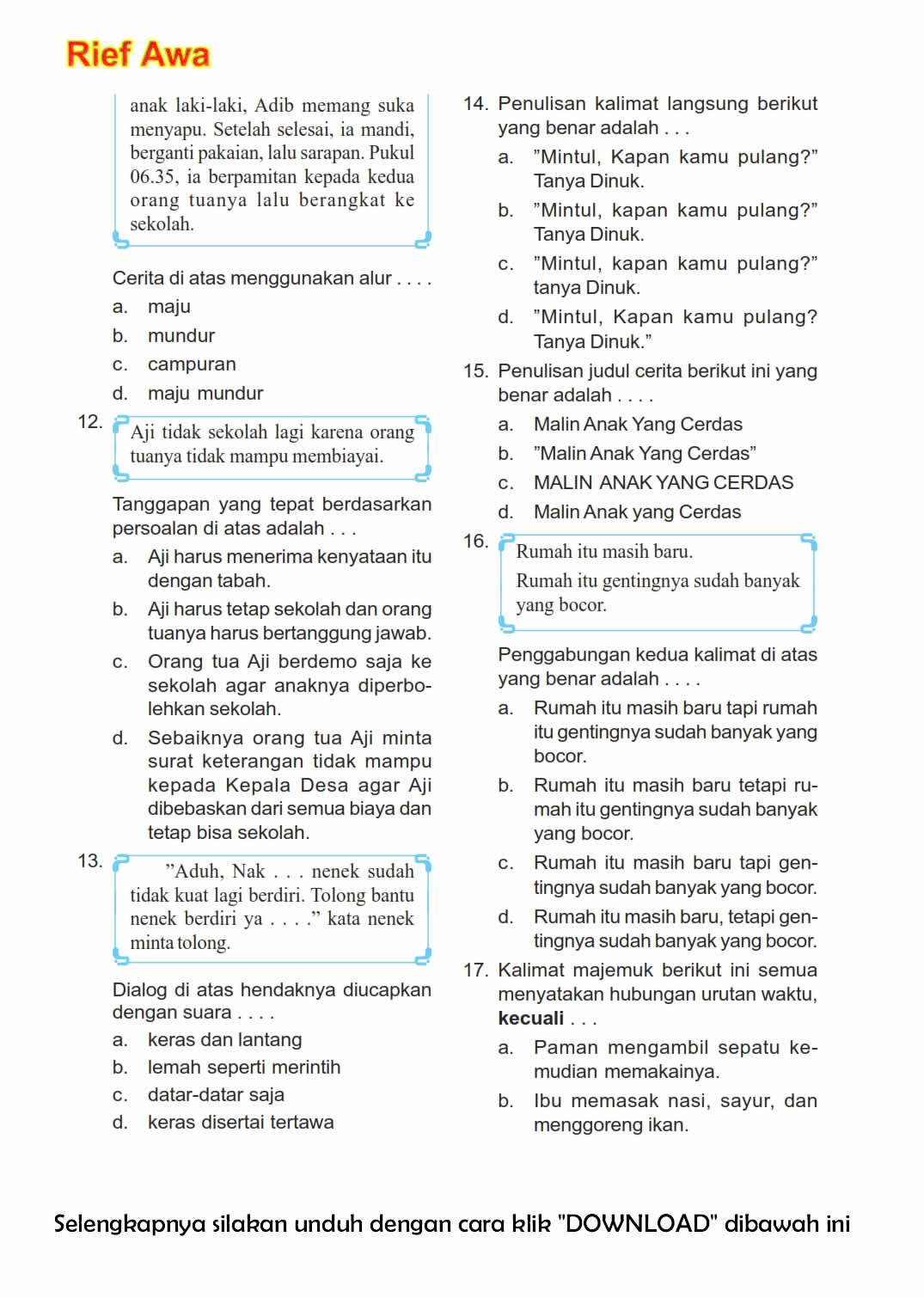 94 Kumpulan Soal 2016 Download Kumpulan Soal Ulangan Harian Sd Kurikulum 2013 Kelas I Tema 1