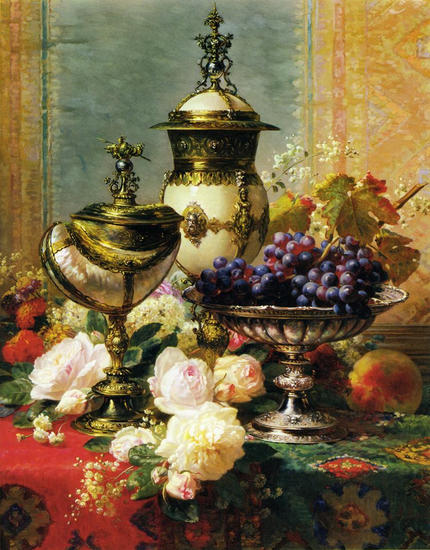 Jean Baptiste Robie  Jean+Baptiste+Robie+-+A+Still+Life+with+Roses_+Grapes+and+A+Silver+Inlaid+Nautilus+Shell