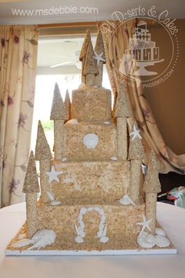 sand castle wedding cake