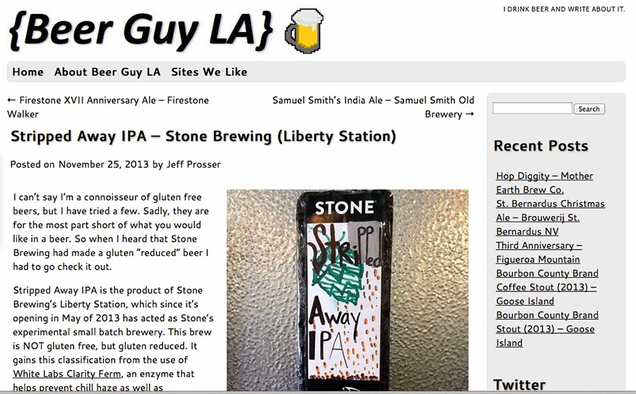 Beer Guy LA low gluten free beer blog Stone Brewery Stripped Away IPA ale draft microbrew