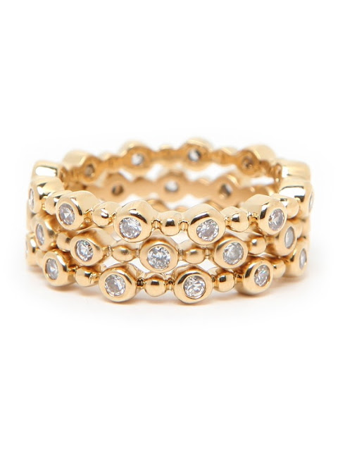 Stackable gold and diamond ring set