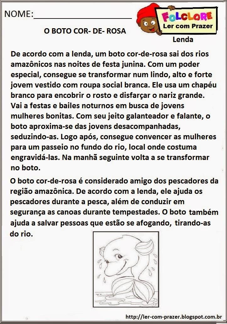 Muitas vezes Ler com prazer: Projeto Folclore :A Lenda do Boto Cor-de-Rosa MF64