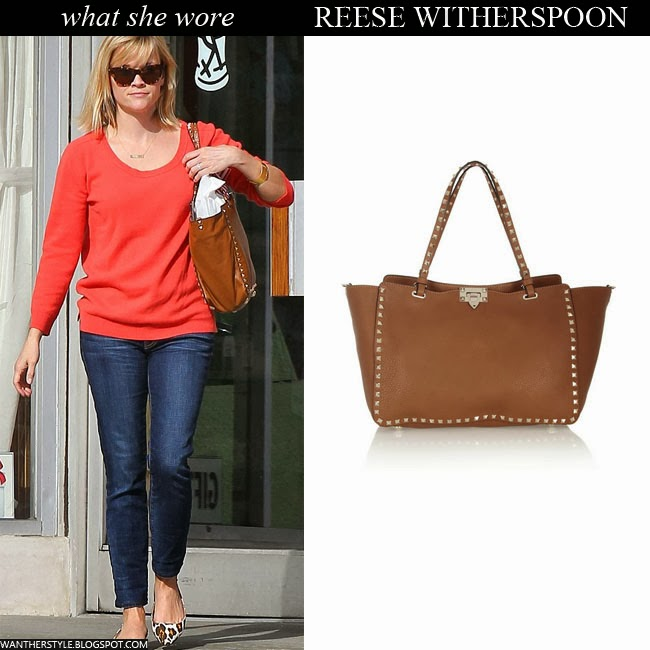 Reese Witherspoon in red top, blue jeans with brown leather studded Valentino bag Want Her Style
