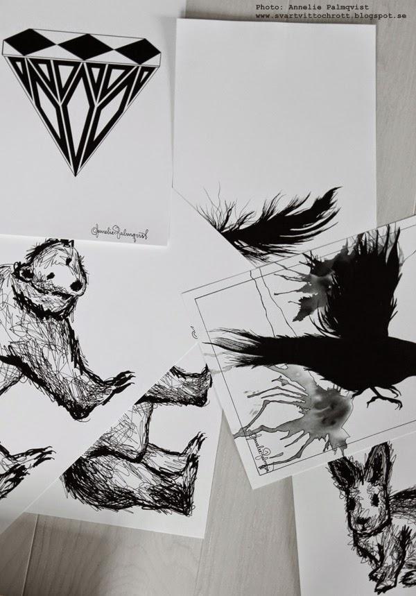 svartvita tavlor, svart och vitt, svartvit poster, diamant, grafiskt, stilren, stilrena, isbjörn, kanin, kaniner, fågel, på väggen, artprints, poster, print,
