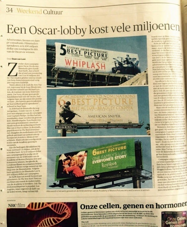 Oscar 2015 billboards Dutch NRC newspaper article