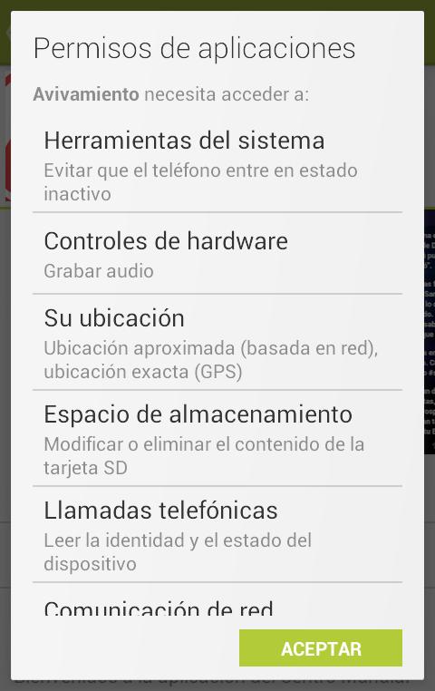 dar permisos a la aplicación android