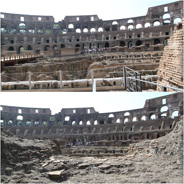 The arena view with hypogeum or also known as underground tunnels where the wild animals and gladiators were held in cages before competitions began in the Roman Colosseum in Rome, Italy