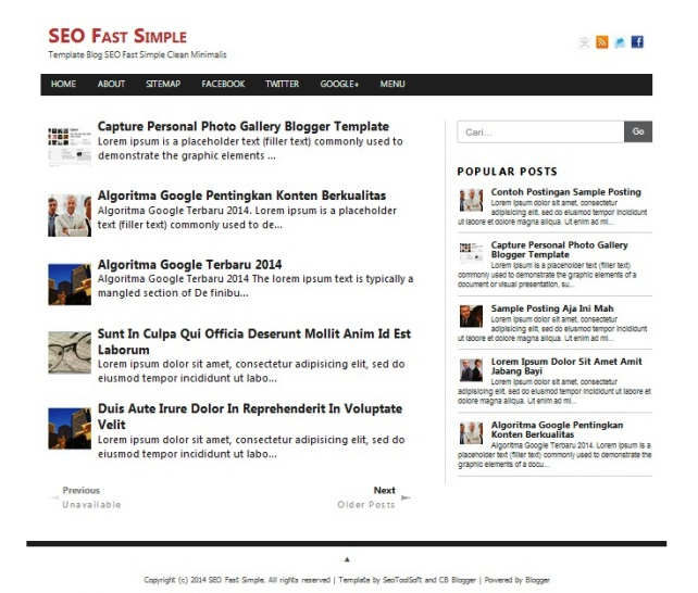 seo fast  - simple seo responsive blogger template