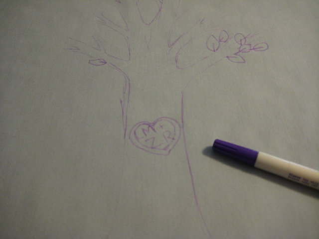 sketch of tree on fabric