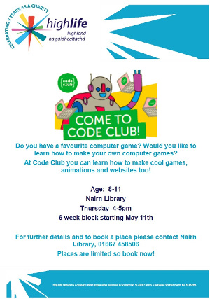 Coding Club Nairn Library May 11th